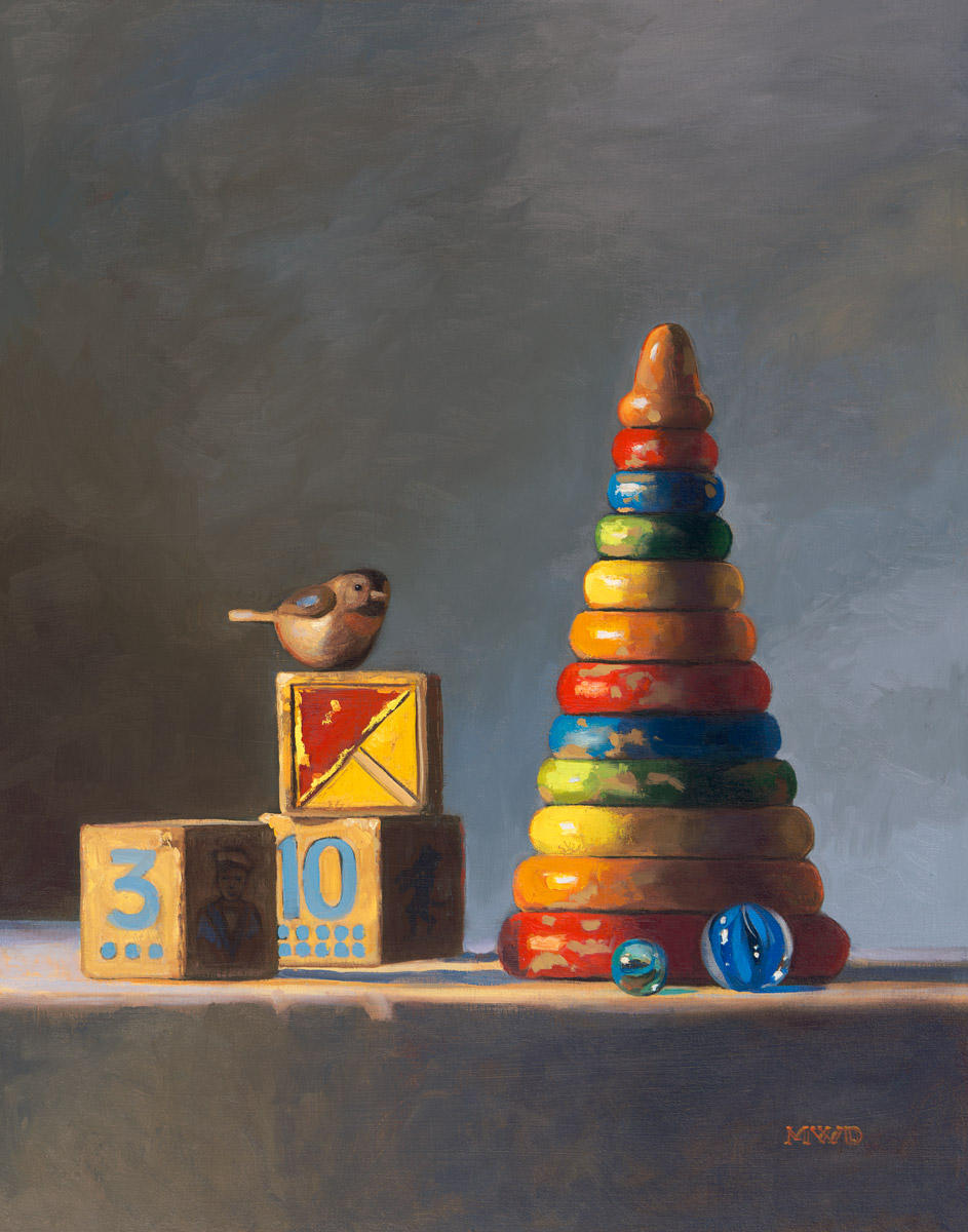 Little Bird Perched - 14 x 11 - Oil on Panel