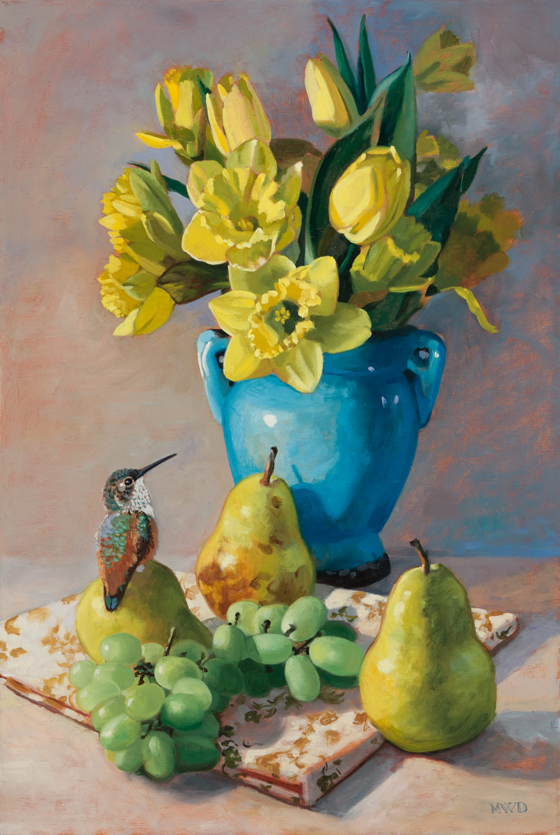 Golden Pear and Daffodils 18 x 12 - NEW