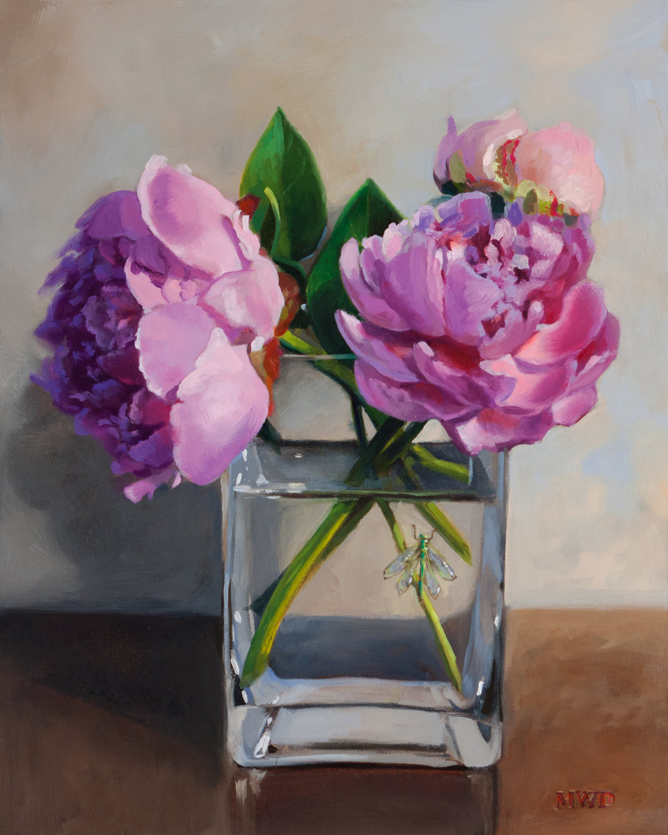 Peonies and Lacewing 10x8 - SOLD