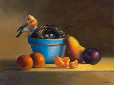 Bluebird and Summer Fruit - 12 x 16 - Oil on Panel - SOLD