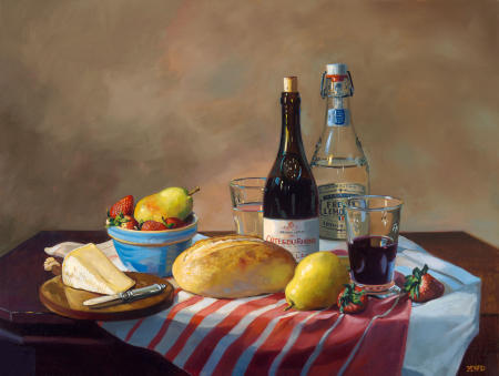 French Picnic - 18 x 24 - Oil on Panel