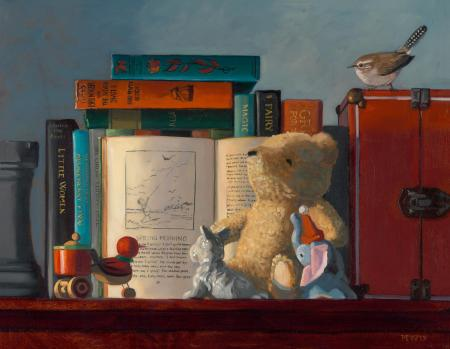 Storytime with Pooh and Friends - 14 x 18 - Oil on Panel - SOLD
